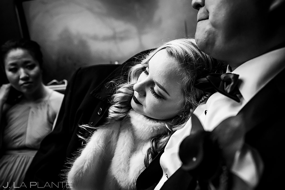 Bride and Groom Riding in Limo | Washington DC Wedding | Destination Wedding Photographer | J. La Plante Photo