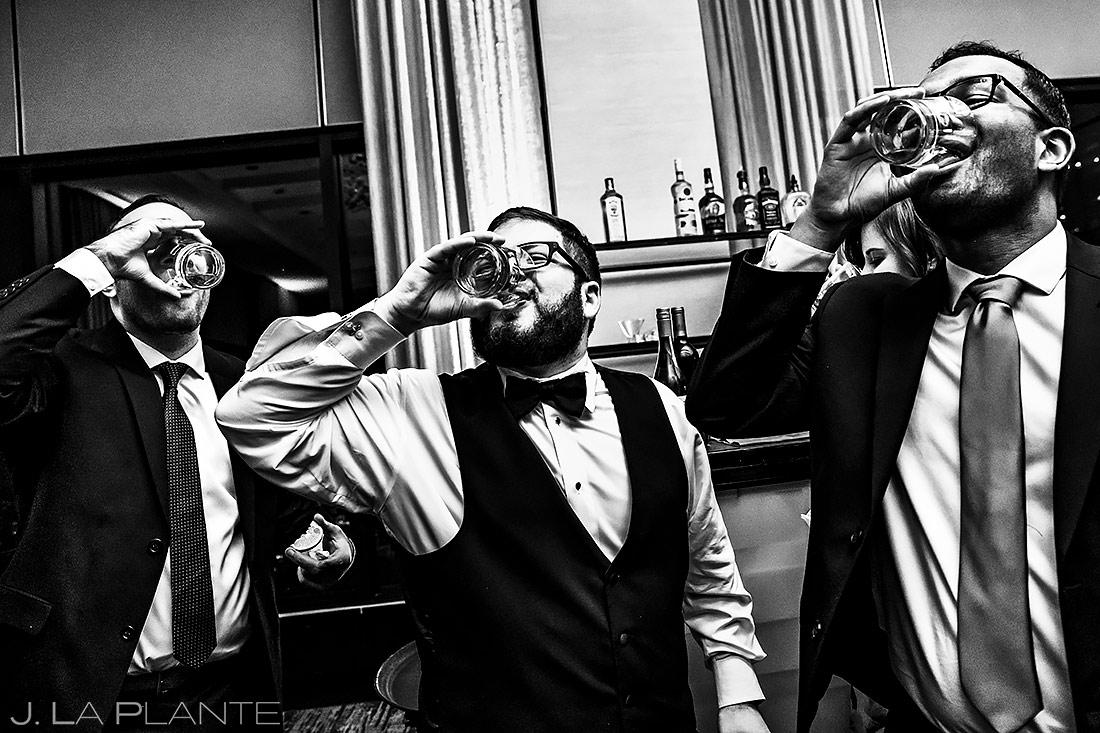 Groom Doing Shots | Downtown Denver Wedding | Denver Wedding Photographer | J. La Plante Photo