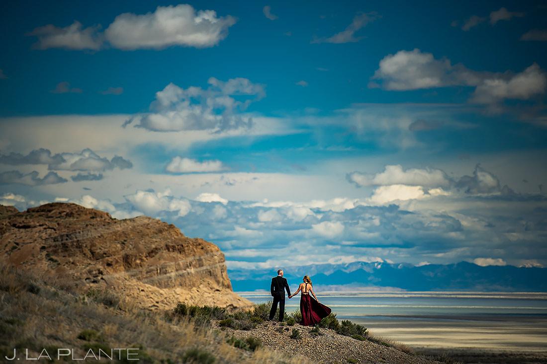Bride and Groom To Be | Bonneville Salt Flats Engagement | Destination Wedding Photographer | J. La Plante Photo