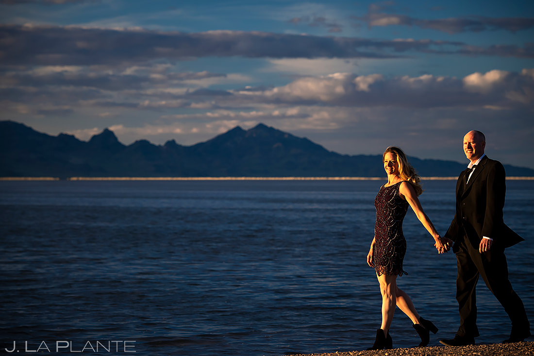 Bride and Groom on the Beach | Bonneville Salt Flats Engagement | Destination Wedding Photographer | J. La Plante Photo