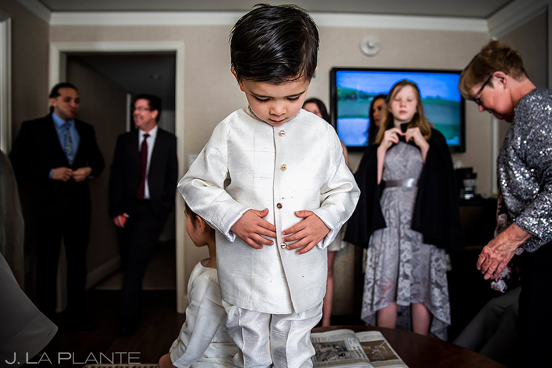 cute kid getting ready before hindu wedding