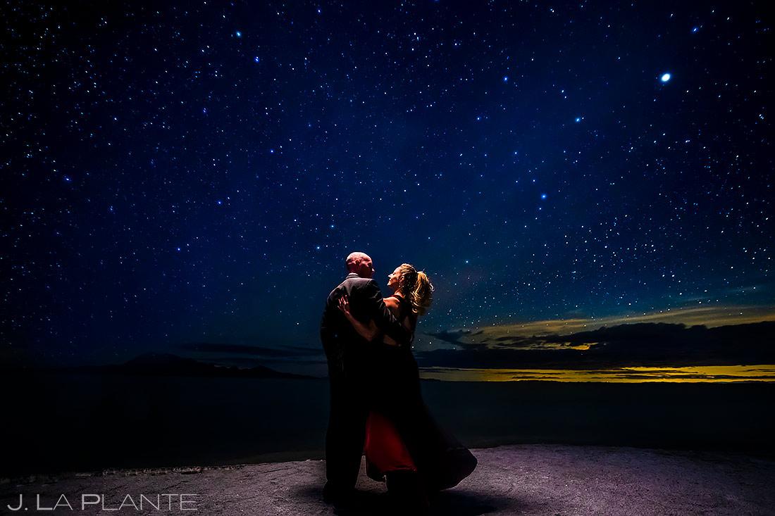 Bride and Groom Under the Stars | Bonneville Salt Flats Engagement | Destination Wedding Photographer | J. La Plante Photo