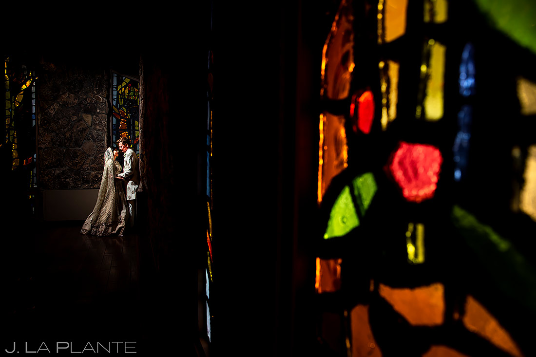 unique portrait of bride and groom