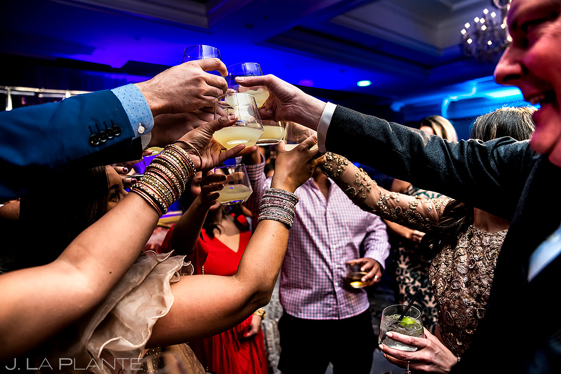 Wedding Guests Doing Shots | St. Regis Aspen Wedding | Aspen Wedding Photographer | J. La Plante Photo