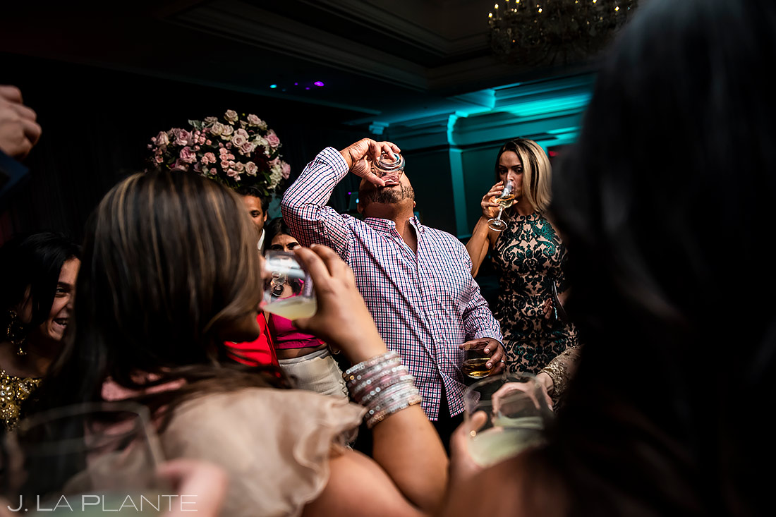 Wedding Guests Doing Shots | Rocky Mountain Wedding | Colorado Wedding Photographer | J. La Plante Photo