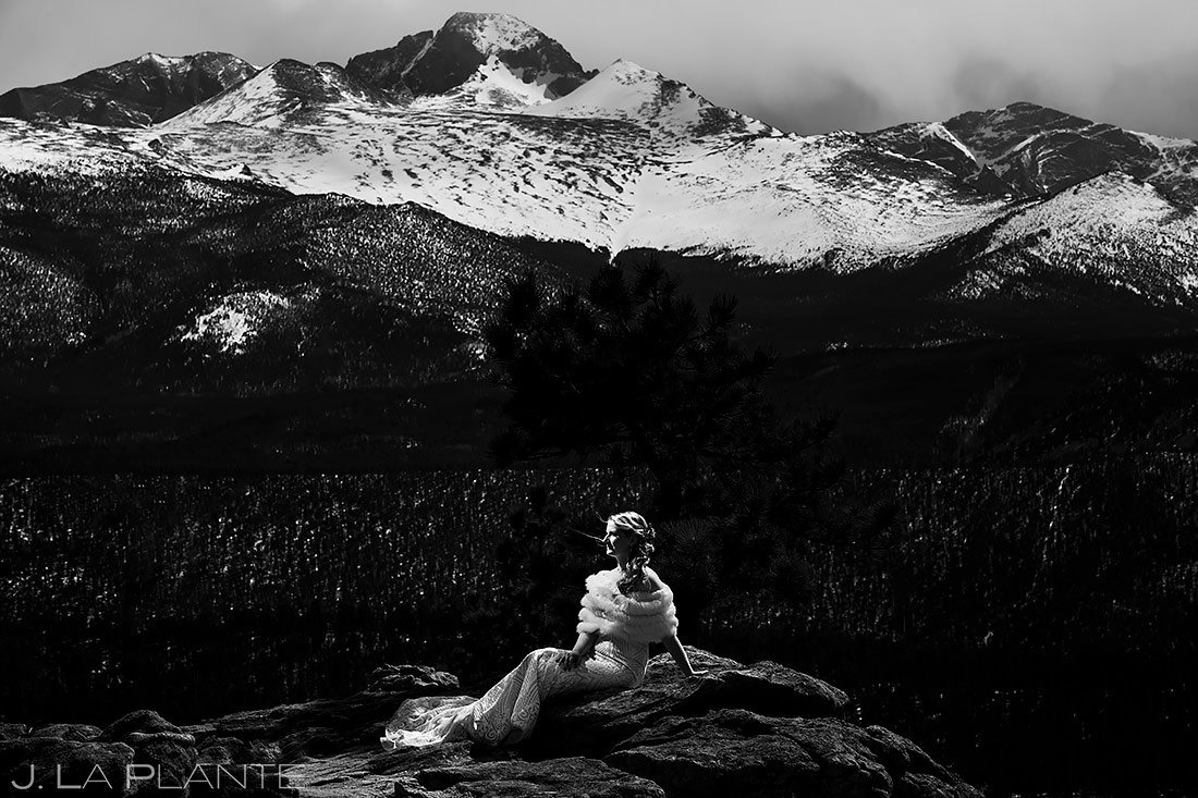 Bride in Rocky Mountain National Park | Stanley Hotel Wedding | Estes Park Wedding Photographer | J. La Plante Photo