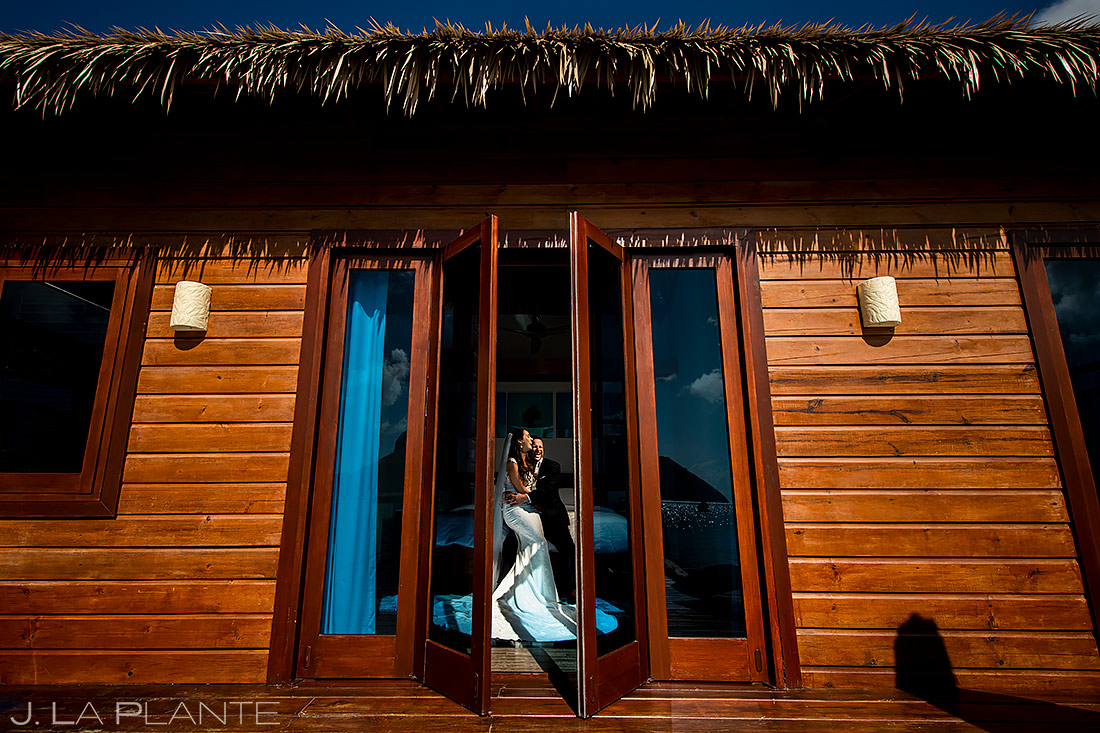 Bride and Groom in Overwater Bungalo | St Lucia Wedding | Destination Wedding Photographer | J. La Plante Photo
