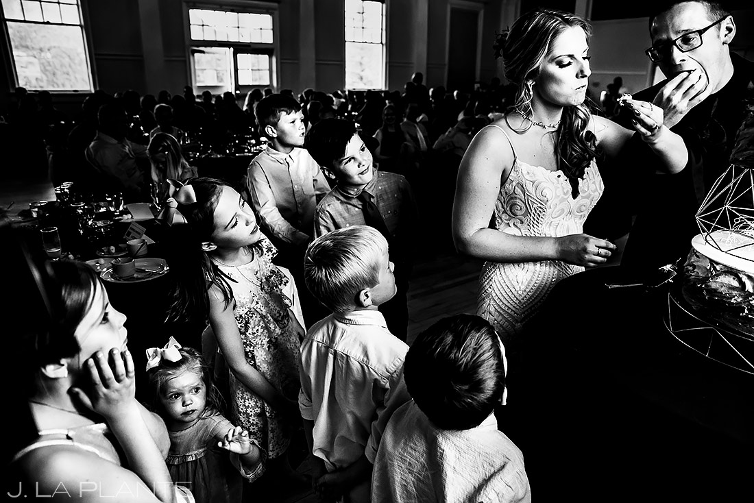Kids Watching Cake Cutting | Stanley Hotel Wedding | Estes Park Wedding Photographer | J. La Plante Photo
