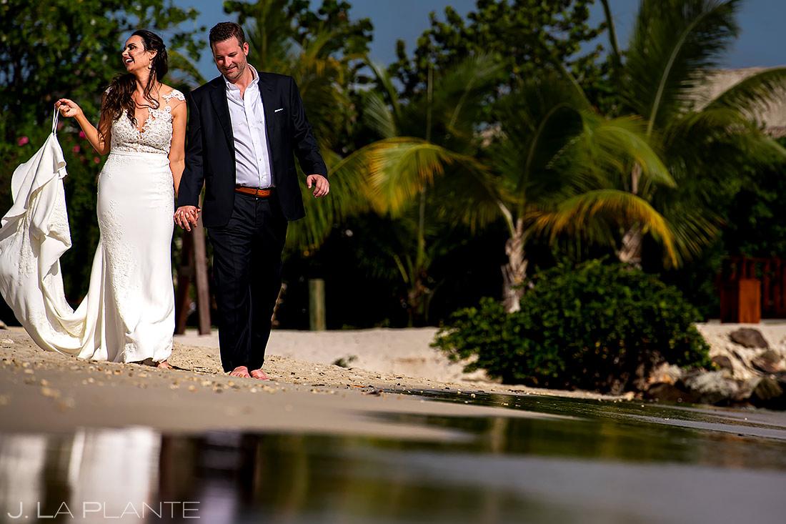 Bride and Groom Walking on Beach | St Lucia Wedding | Destination Wedding Photographer | J. La Plante Photo