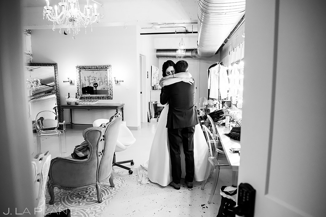 Bride and Groom Hugging After Ceremony | Longmont Wedding | Boulder Wedding Photographer | J. La Plante Photo