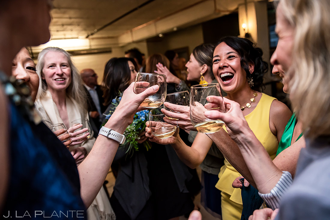Wedding Guests Drinking Champagne | St Vrain Wedding | Boulder Wedding Photographer | J. La Plante Photo
