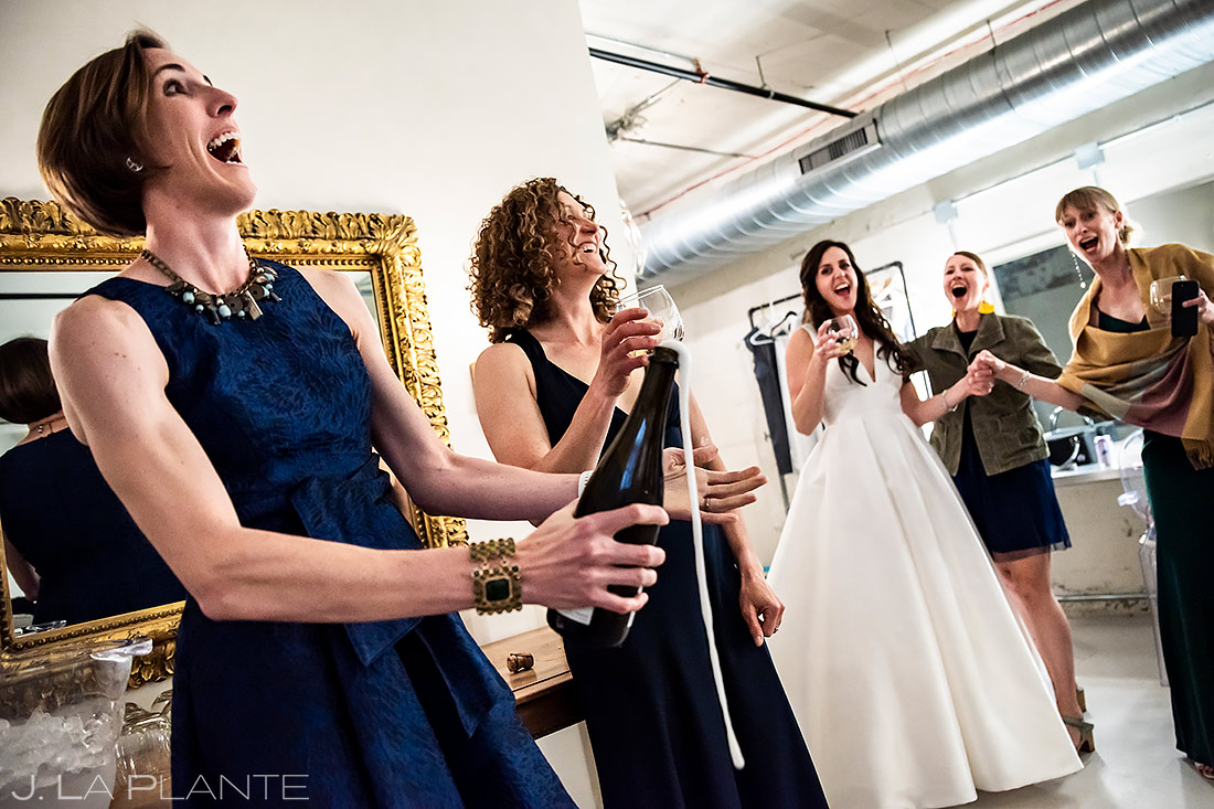 Bridesmaids Popping Bottles | St Vrain Wedding | Boulder Wedding Photographer | J. La Plante Photo