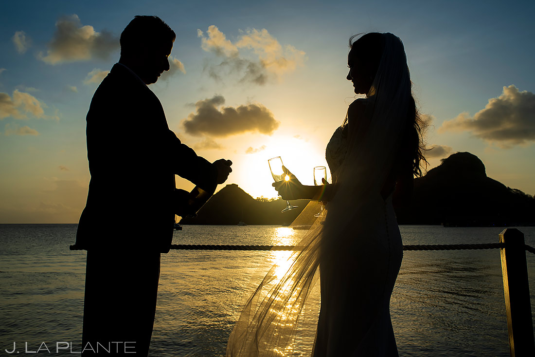 Bride and Groom Popping Bottles | St Lucia Wedding | Destination Wedding Photographer | J. La Plante Photo