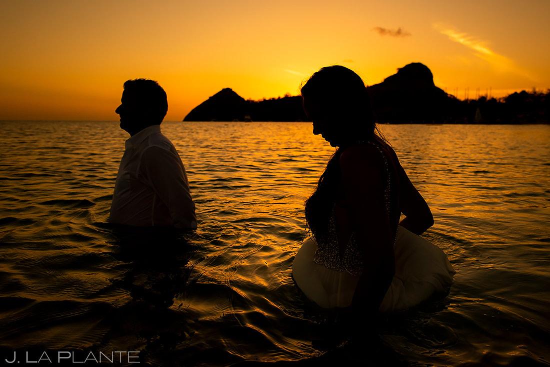 Bride and Groom in Ocean | St Lucia Wedding | Destination Wedding Photographer | J. La Plante Photo
