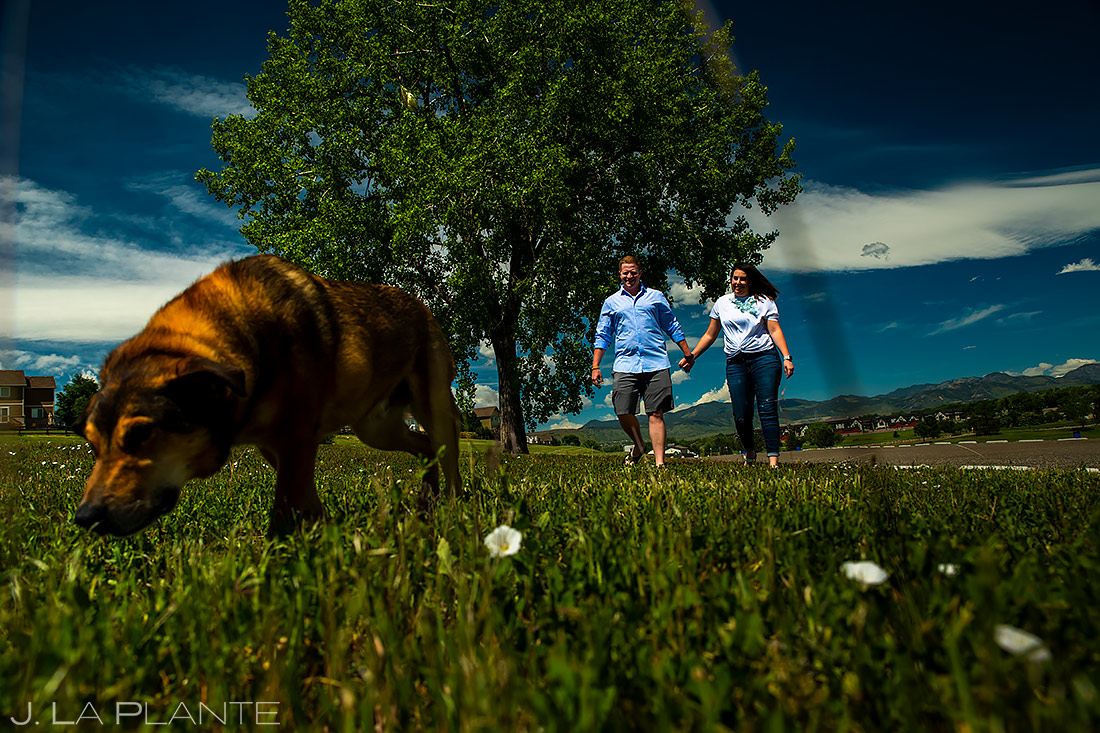 Couple Walking Dog | Denver Engagement | Denver Wedding Photographers | J. La Plante Photo
