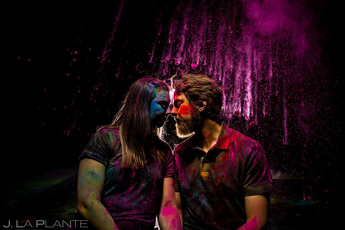 Unique Engagement Photo Ideas | Holi Powder Engagement | Boulder Wedding Photographers | J. La Plante Photo