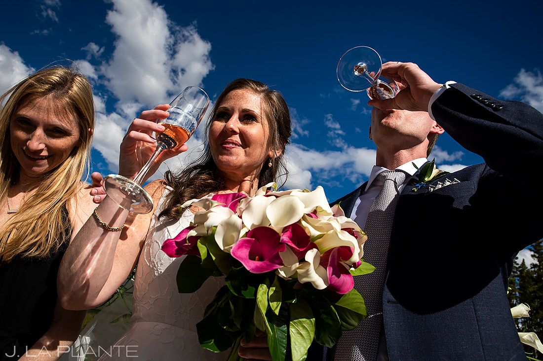 Bride and Groom Drinking Champagne | Breckenridge Wedding | Breckenridge Wedding Photographer | J. La Plante Photo