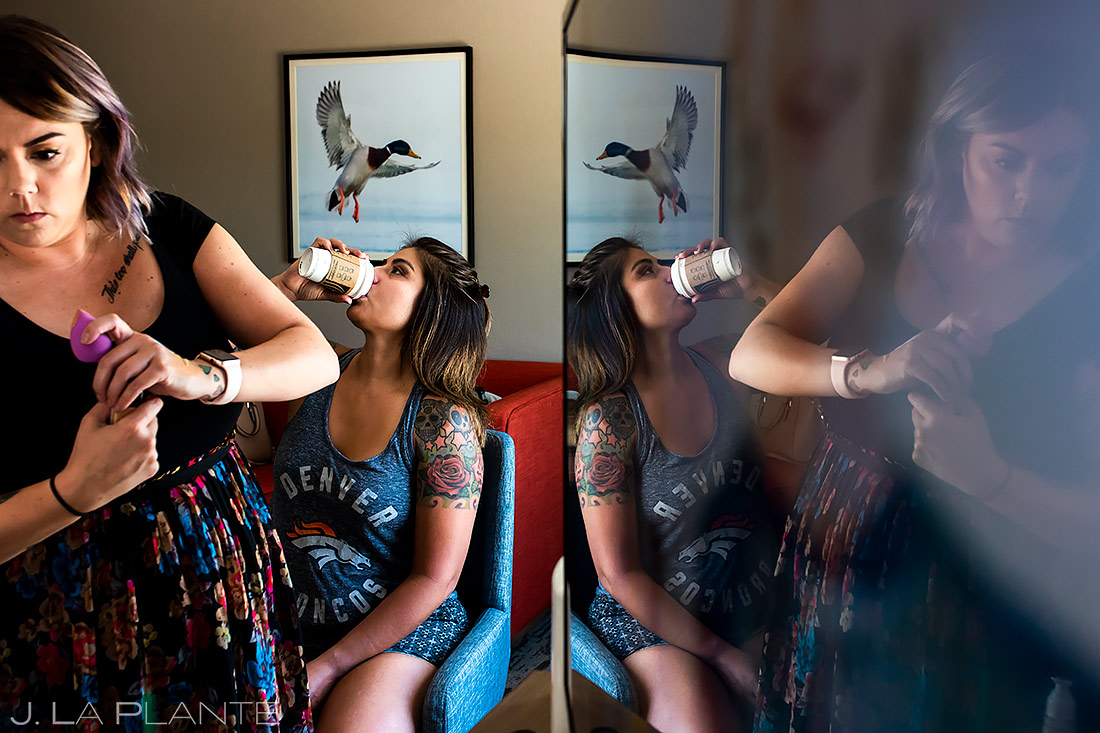 Bridesmaid Drinking Coffee | Lionsgate Wedding | Boulder Wedding Photographer | J. La Plante Photo