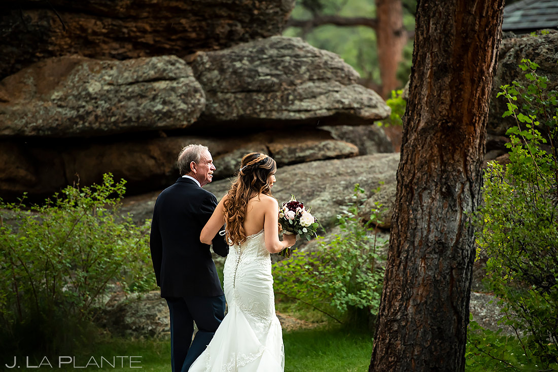 Bride Walking Down Aisle | Black Canyon Inn Wedding | Estes Park Wedding Photographer | J. La Plante Photo