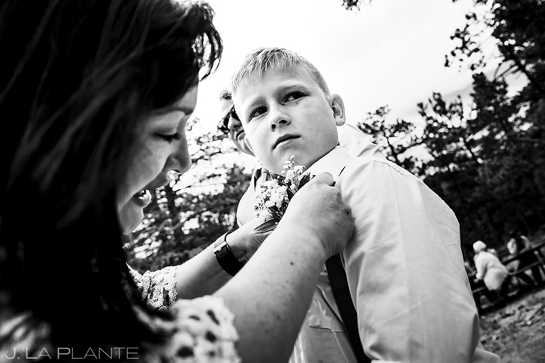 Ring Bearer Boutonniere | Lily Lake Wedding | Estes Park Wedding Photographer | J. La Plante Photo