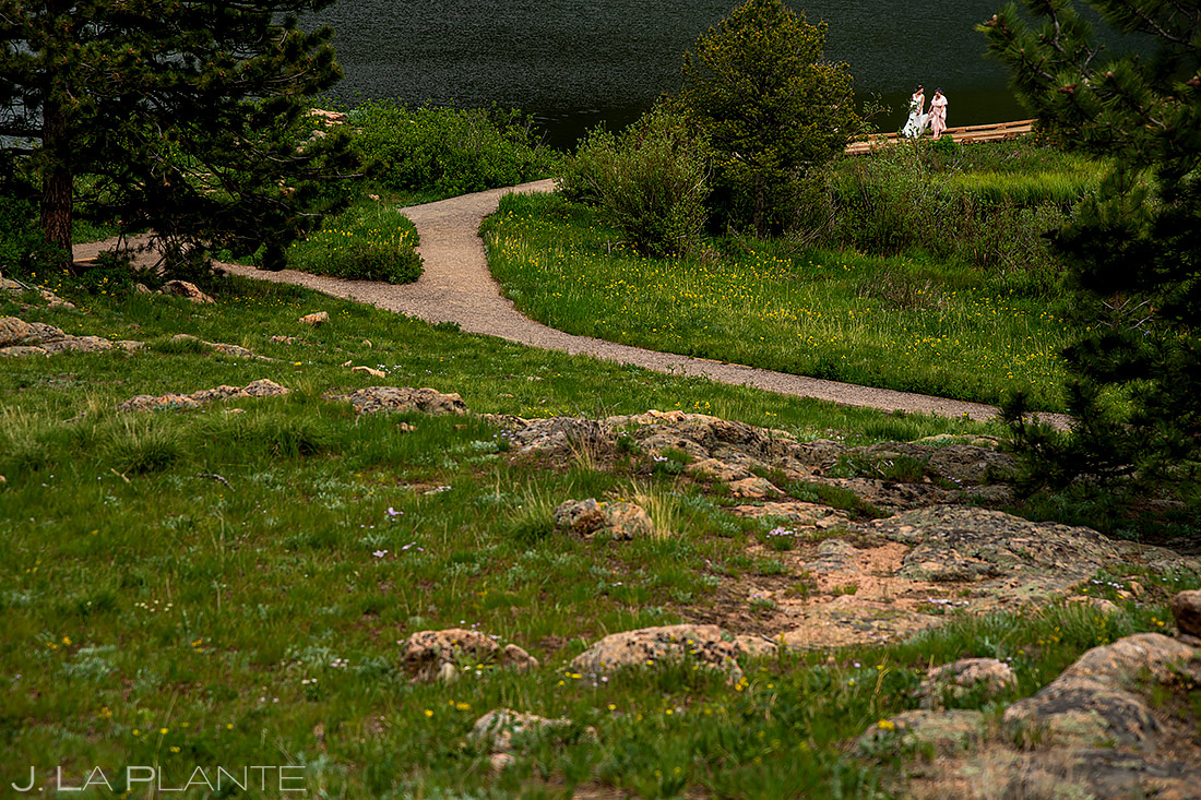 Bride Walking Down Aisle | Lily Lake Wedding | Estes Park Wedding Photographer | J. La Plante Photo