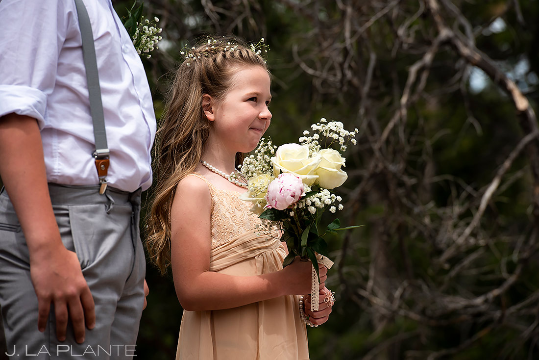 Cute Flower Girl | Lily Lake Wedding | Estes Park Wedding Photographer | J. La Plante Photo