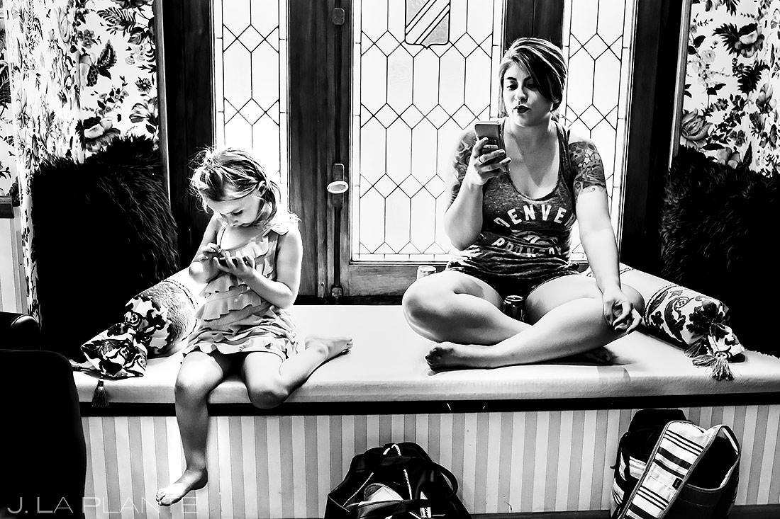 Flower Girl on the Phone | Lionsgate Wedding | Boulder Wedding Photographer | J. La Plante Photo