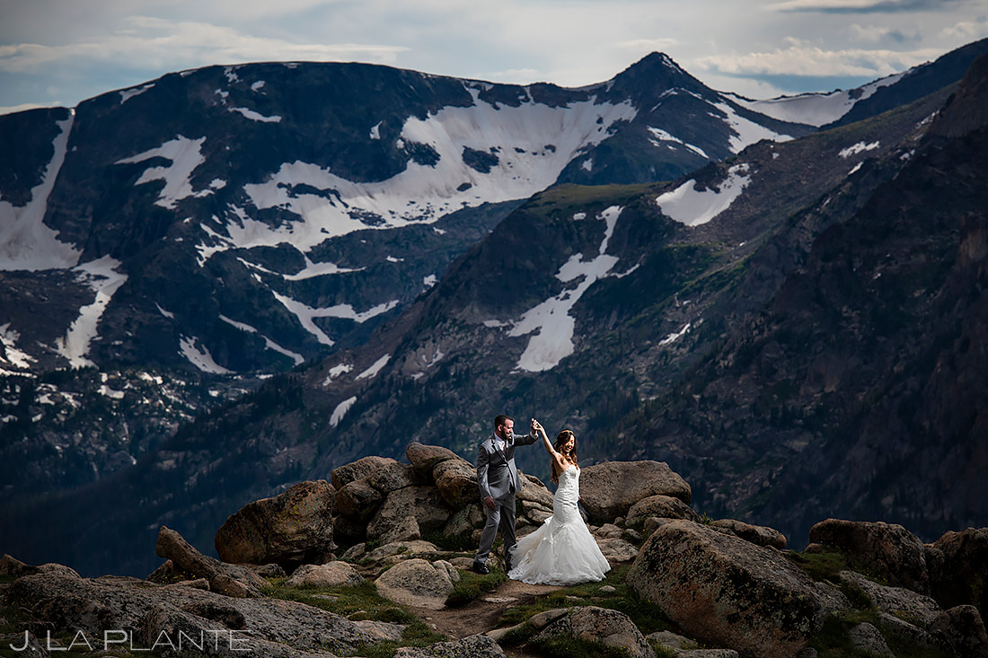 Bride and Groom Dancing in the Mountains | Rocky Mountain National Park Wedding | Estes Park Wedding Photographer | J. La Plante Photo