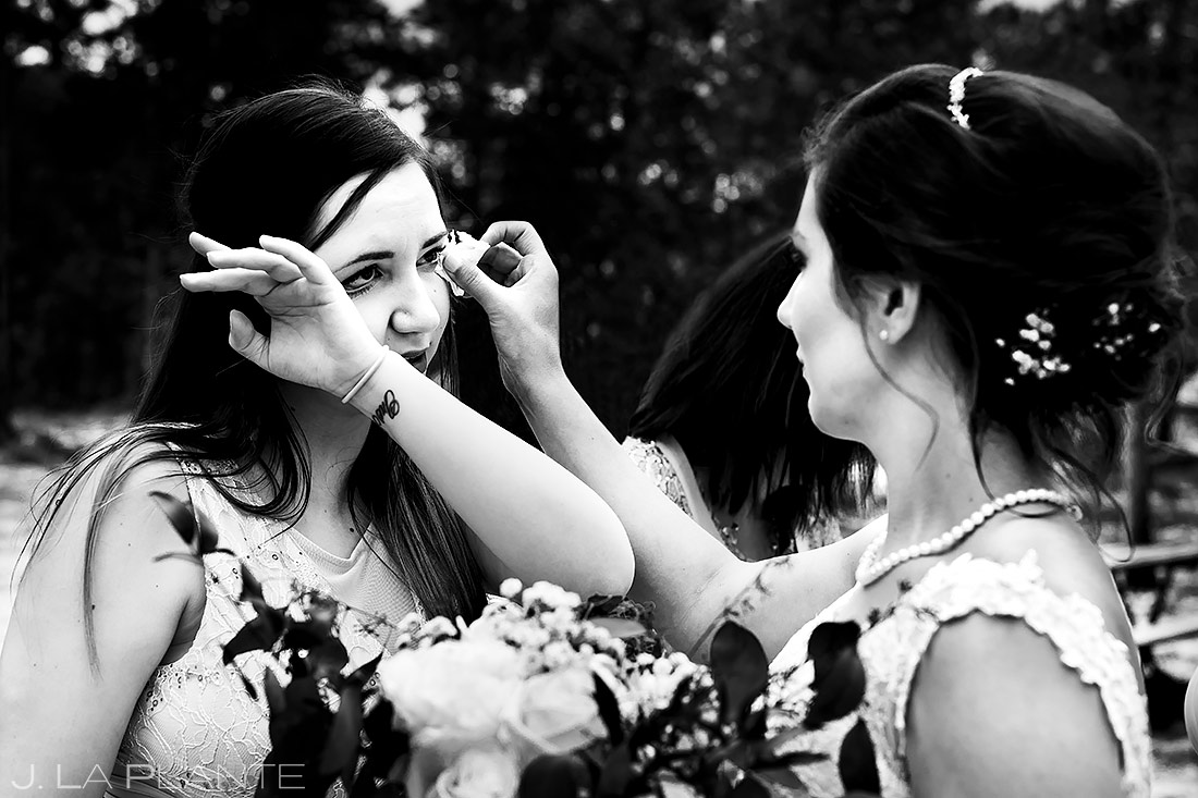 Bride Wiping Friend's Tears | Lily Lake Wedding | Estes Park Wedding Photographer | J. La Plante Photo