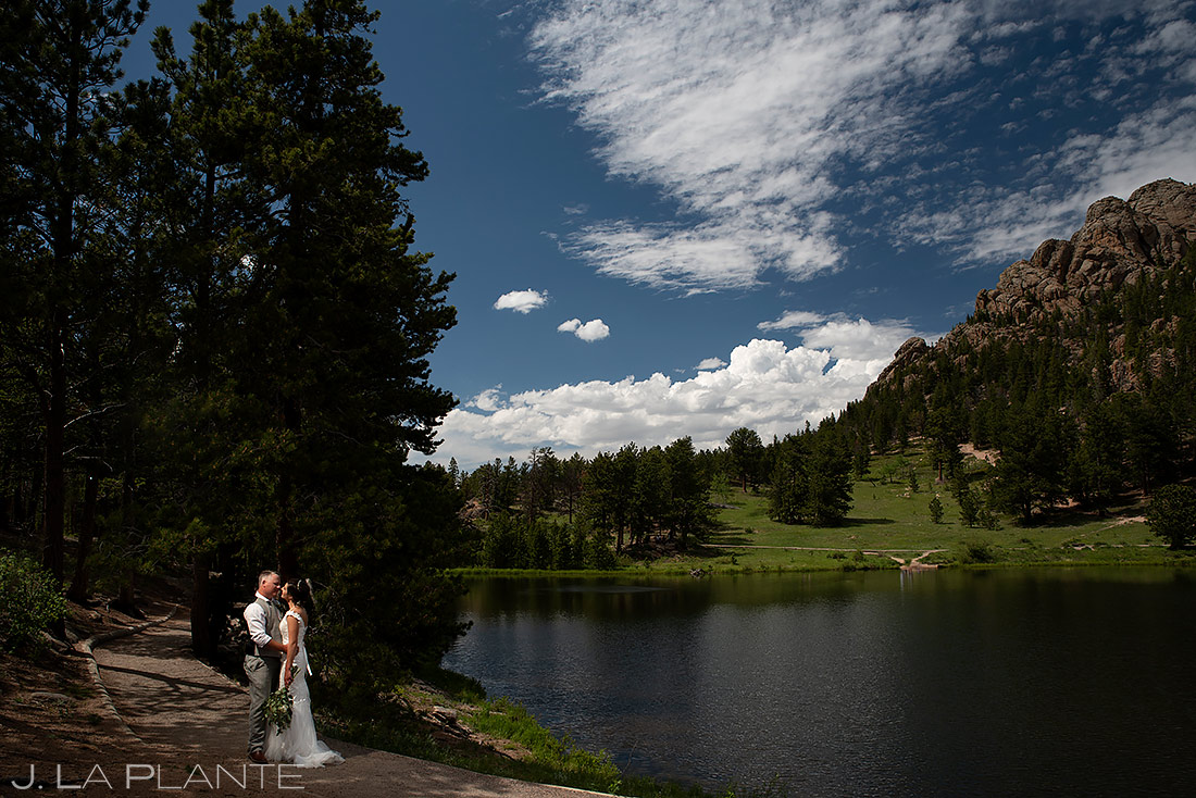 Bride and Groom by the Lake | Lily Lake Wedding | Estes Park Wedding Photographer | J. La Plante Photo