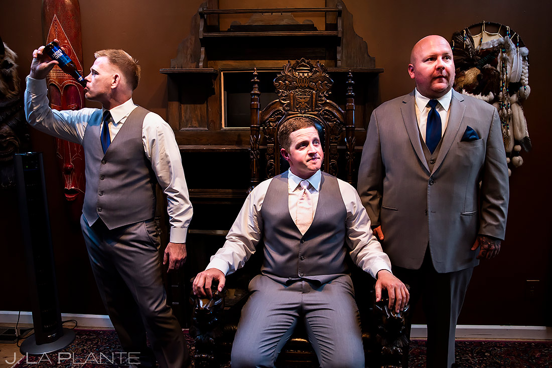 Groomsman Chugging Beer | Lionsgate Wedding | Boulder Wedding Photographer | J. La Plante Photo