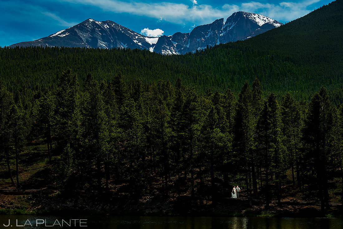 Bride and Groom at Longs Peak | Lily Lake Wedding | Estes Park Wedding Photographer | J. La Plante Photo