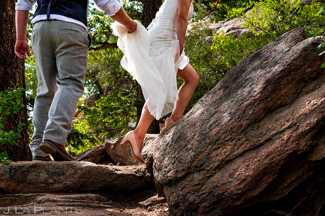 Bride and Groom Hiking | Lily Lake Wedding | Estes Park Wedding Photographer | J. La Plante Photo