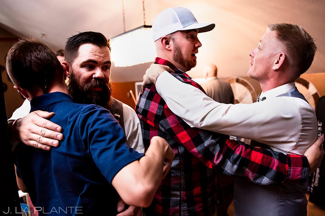 Groomsmen Hugging | Lionsgate Wedding | Boulder Wedding Photographer | J. La Plante Photo