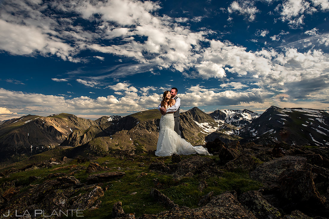 Bride and Groom Mountain Portrait | Rocky Mountain National Park Wedding | Estes Park Wedding Photographer | J. La Plante Photo