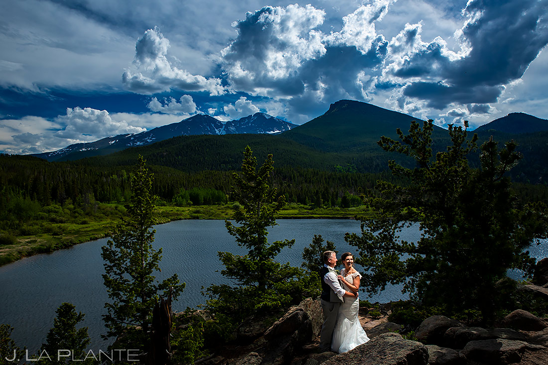 Bride and Groom at the Lake | Lily Lake Wedding | Estes Park Wedding Photographer | J. La Plante Photo