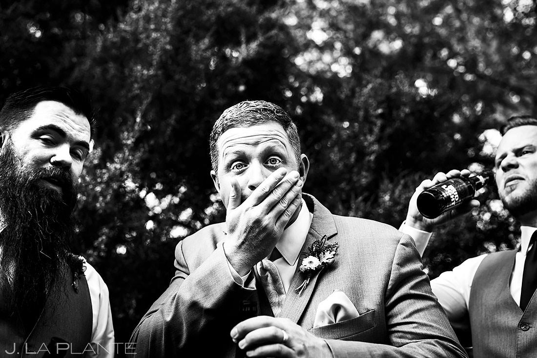 Groom Chugging Beer | Lionsgate Wedding | Boulder Wedding Photographer | J. La Plante Photo