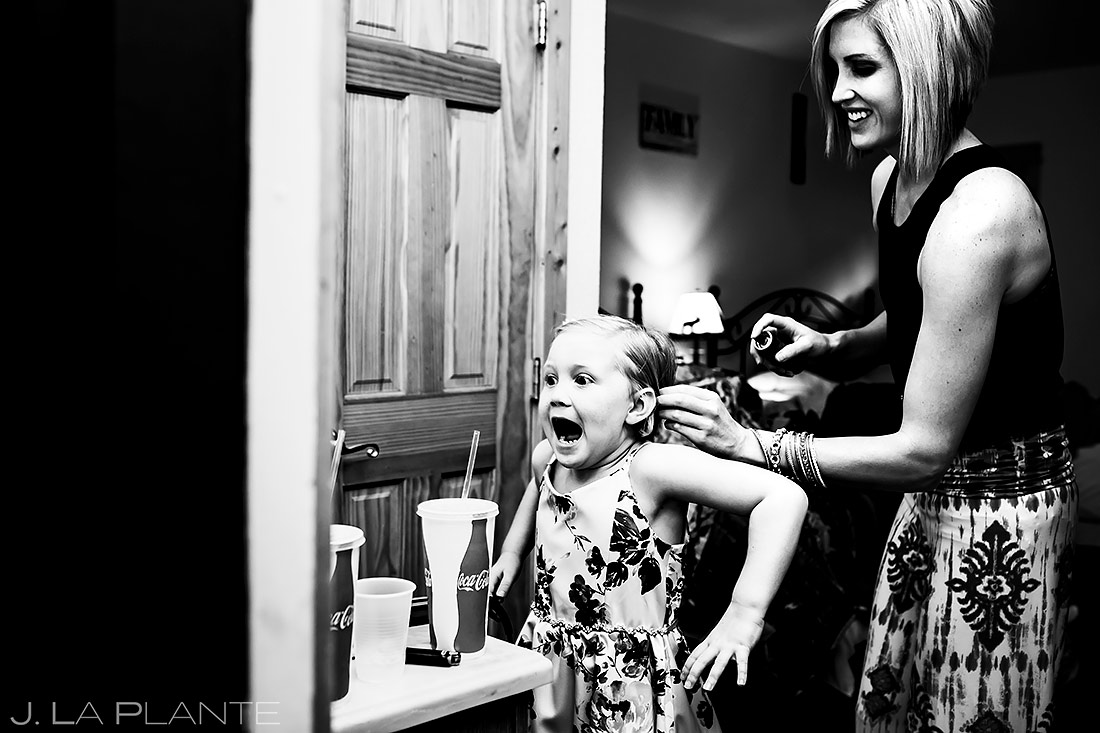 Flower Girl Getting Ready | 3M Curve Wedding | Rocky Mountain National Park Wedding Photographer | J. La Plante Photo