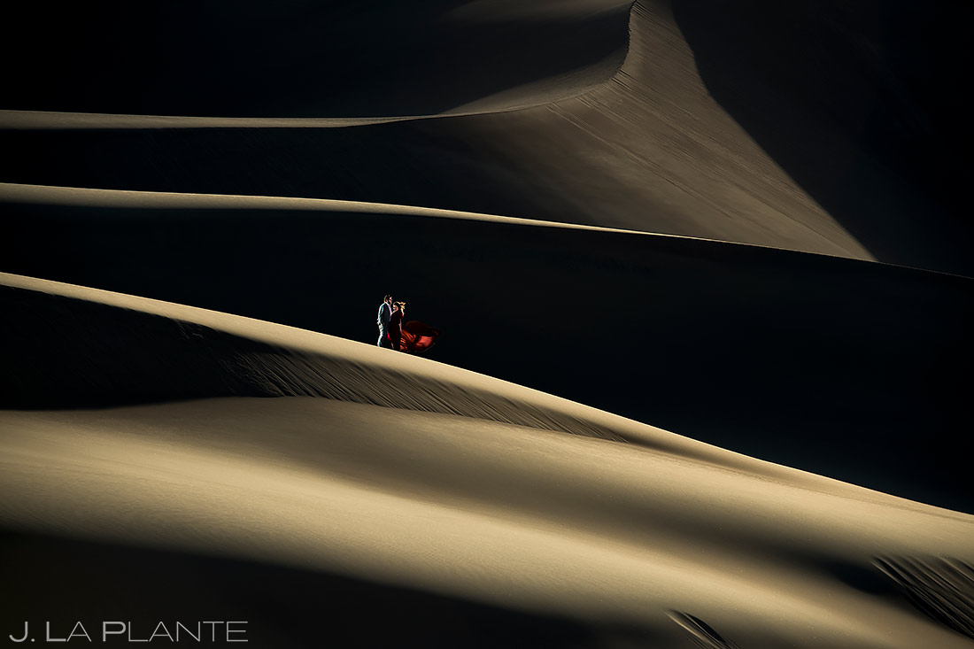 Bride and Groom on Sand Dunes | Great Sand Dunes Engagement Session | Unique Engagement Photos | J. La Plante Photo