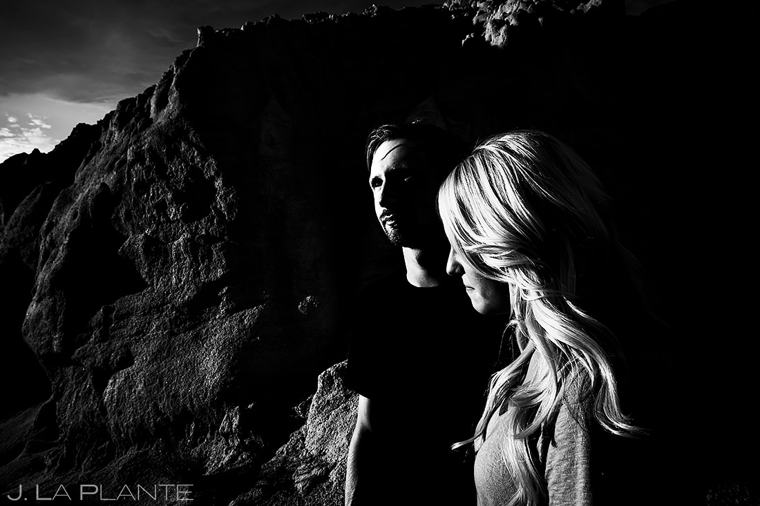 Bride and Groom Black and White Photo | Paint Mines Engagement Session | Colorado Springs Wedding Photographers | J. La Plante Photo