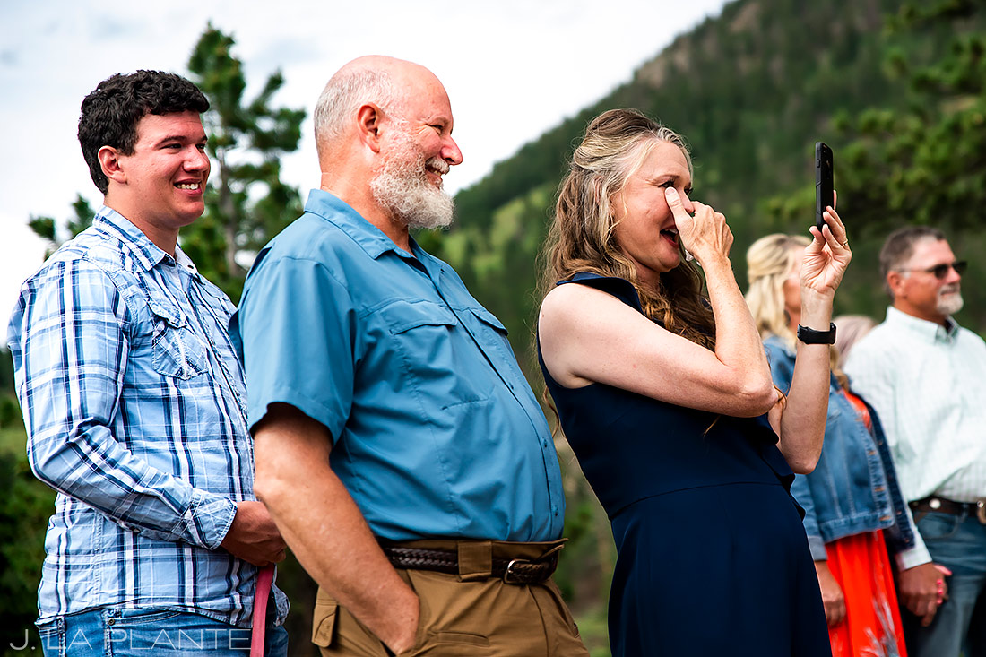 Mother of the Bride Crying | 3M Curve Wedding | Rocky Mountain National Park Wedding Photographer | J. La Plante Photo