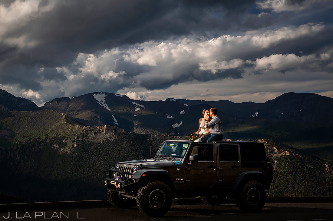 Bride and Groom in Jeep | 3M Curve Wedding | Rocky Mountain National Park Wedding Photographer | J. La Plante Photo