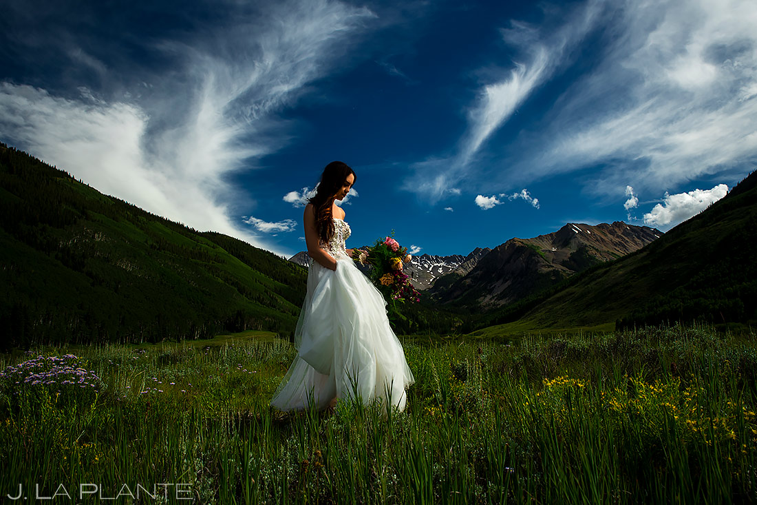 Wedding Dress | Pine Creek Cookhouse Wedding | Aspen Wedding Photographer | J. La Plante Photo