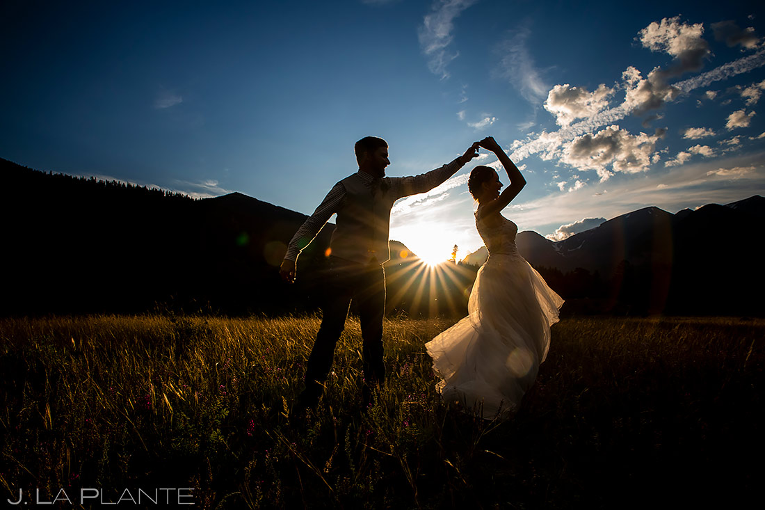 Bride and Groom Dancing | 3M Curve Wedding | Rocky Mountain National Park Wedding Photographer | J. La Plante Photo