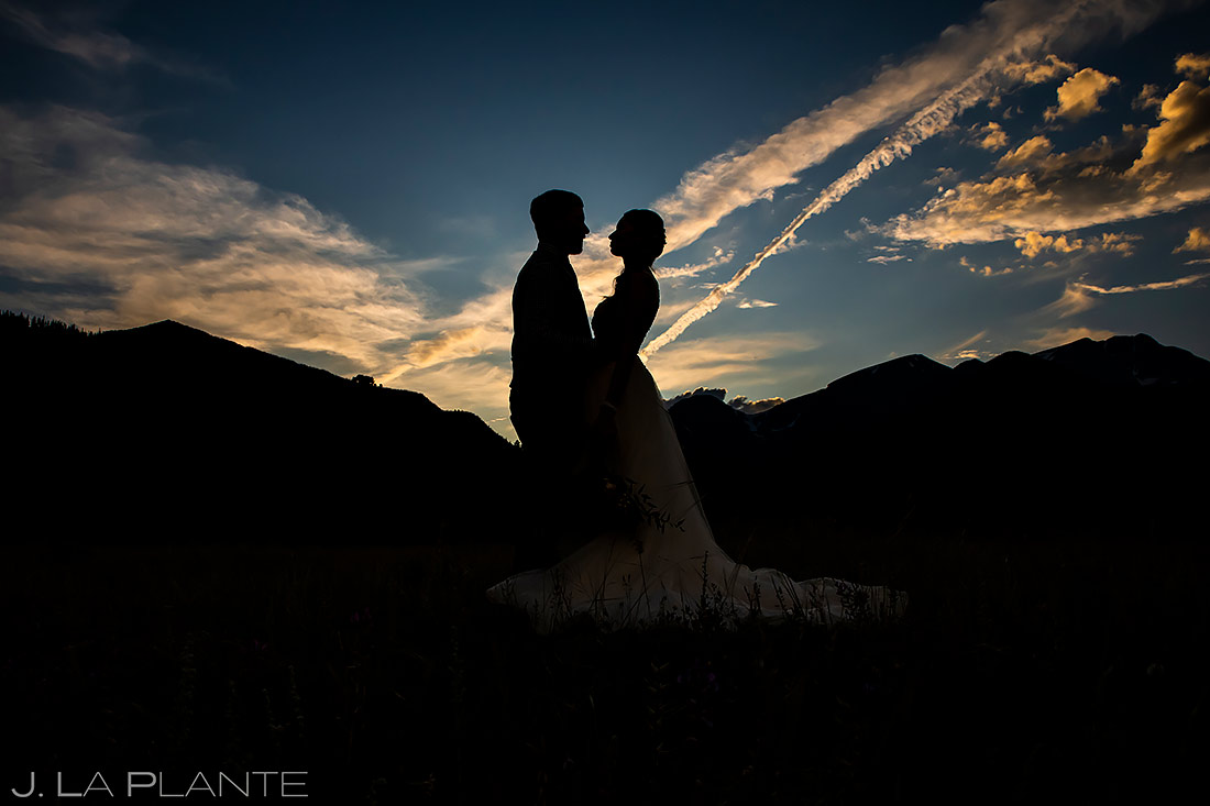 Bride and Groom Silhouettes | 3M Curve Wedding | Rocky Mountain National Park Wedding Photographer | J. La Plante Photo