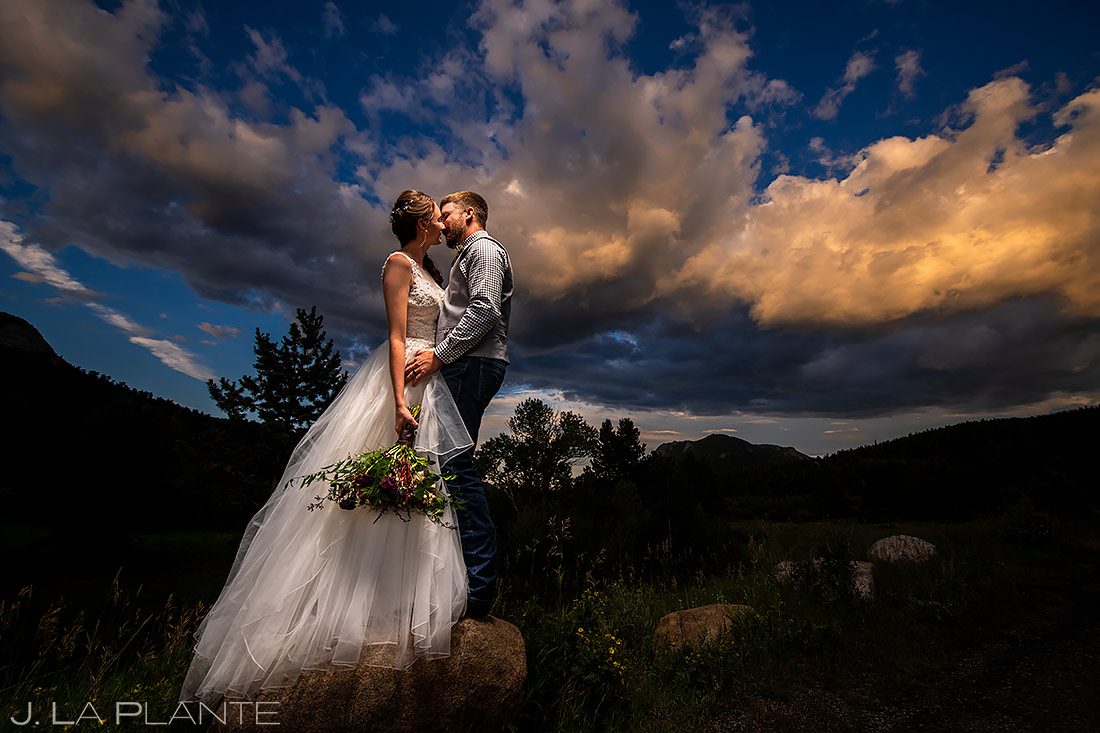 Bride and Groom Sunset Portrait | 3M Curve Wedding | Rocky Mountain National Park Wedding Photographer | J. La Plante Photo