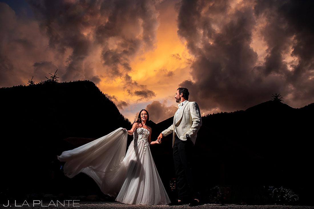 Sunset Wedding Portrait | Pine Creek Cookhouse Wedding | Aspen Wedding Photographer | J. La Plante Photo