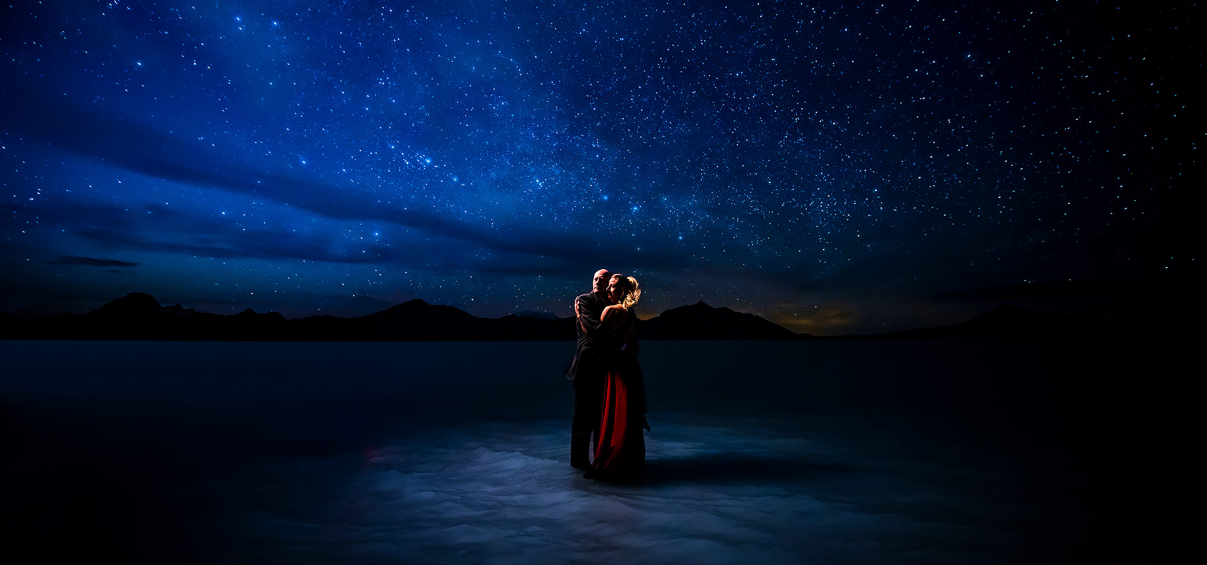 Bride and Groom Under the Stars | Bonneville Salt Flats Engagement | Destination Wedding Photographers | J. La Plante Photo