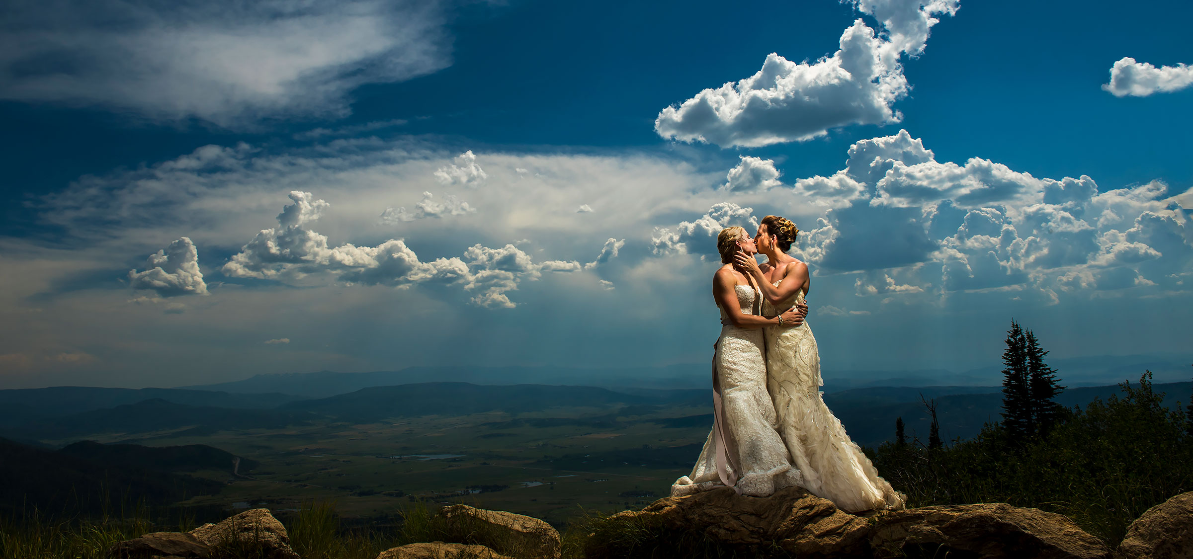 Cool Photo of Two Brides | Steamboat Springs Wedding | Colorado Wedding Photographers | J. La Plante Photo