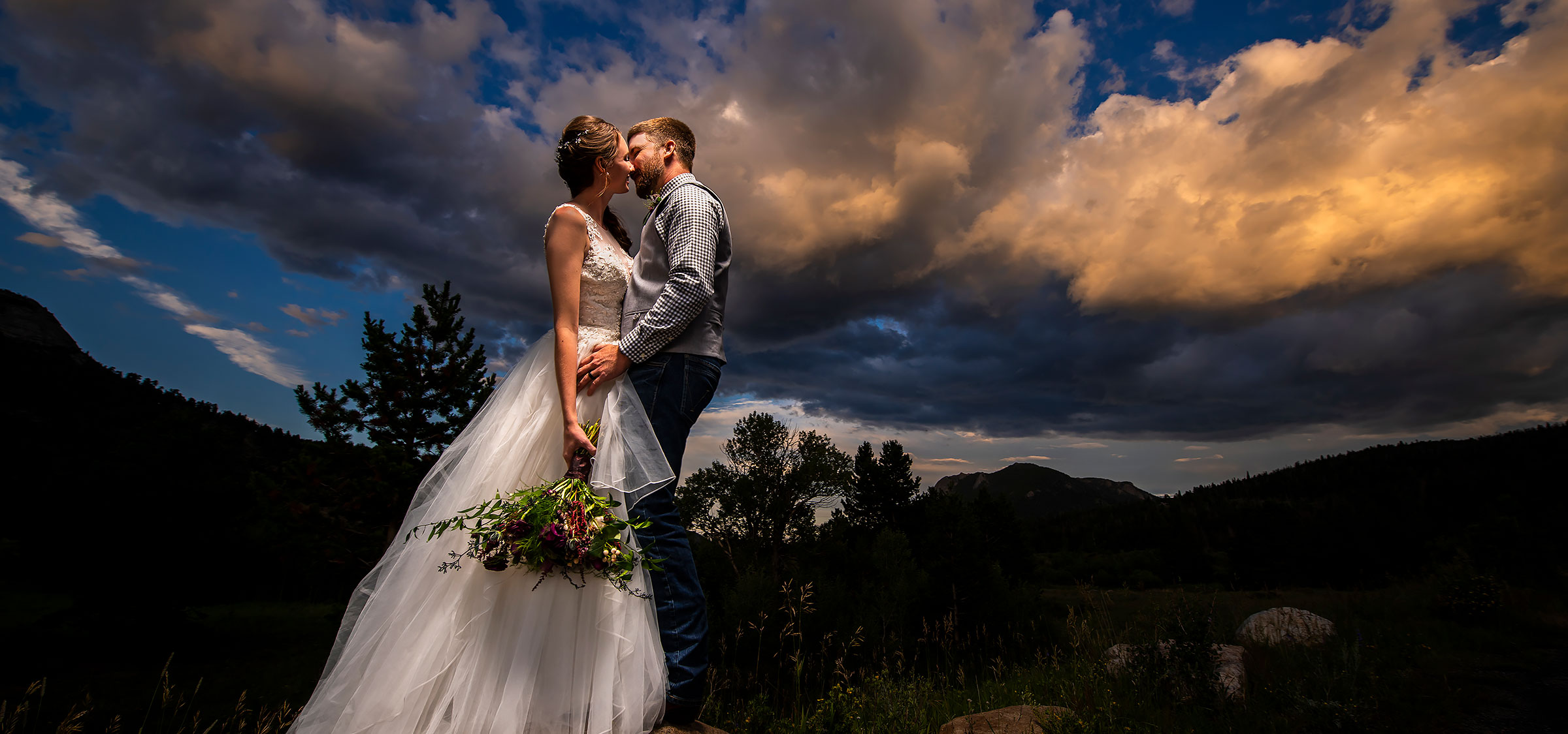 Sunset Wedding Photo | Rocky Mountain National Park Wedding | Estes Park Wedding Photographers | J. La Plante Photo